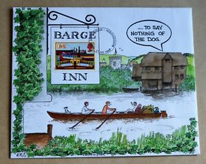 INLAND WATERWAYS 1993 RARE HAND PAINTED 'THE BARGE INN - RIVER SCENE' FDC