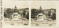 Italia Roma Panorama Da La Place Da Venezia E Corso Foto Stereo Analogica PL62