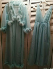 Vtg Dressing Gown-Peignoir-Negligee-Feathers 2Pc Set Sears & Roebuck Size 38-40
