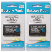 two (2) 2000mAh 3.7V Rechargeable Battery Pack Replacement For Nintendo 3DS