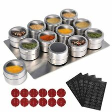 Magnetic Spice Tins Cans Spice Jars Holder Storage Containers Seasoning Labels