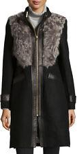 Badgley Mischka Sadie Shearling Wool Coat Leather Trim Zip Up Buckle Jacket SZ S