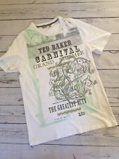 Ted Baker T Shirt Medium Size 5 White Graphic Print Carnival Poster Summer