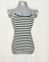 Ann Taylor LOFT Spaghettii Strap Womens Cami S Black/White Striped Shirt Tank