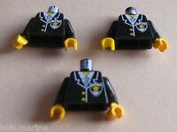 Lego 3 torses set 4559 6598 6348 6332 / 3 black  torso from minifig