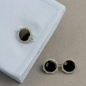 1920s Art Deco Large Black Round Onyx & White CZ 925 SS Double Sided Cufflinks