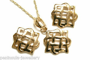 9ct Gold Celtic Pendant Necklace and Stud Earrings Set Made in UK Gift Boxed