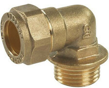 "PACK OF 5 BRASS COMPRESSION ELBOW MALE IRON 22MM X 3/4"" MI - BRITISH STANDARD"