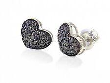 10K White Gold Heart Cluster Earrings Black Diamonds .40ct - Domed Shape Setting