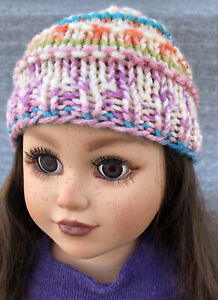 """Lot of 2 New Handmade Knit Hats Fits 18"""" American Girl Dolls Pink Multicolored"""
