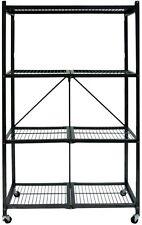 """Folding Metal Shelf Storage Rack 4-Tier Shelves Casters 61"""" X 21.64"""" X 4.13"""" New"""