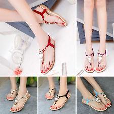 HOT Women Bohemia Buckle Flat Shoes Beach Sandals Owl Thong Slippers Flip Flops