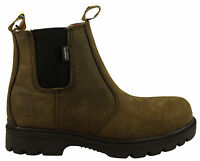Kanyon Teak Safety Boots Waterproof Outdoor Country Yard Boot  - Brown Leather