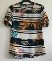 Primark Size 6 Ladies Blue & White Striped Top With Multicoloured Leaf Print
