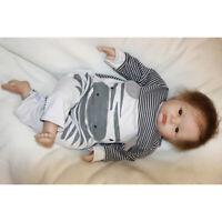 "Lifelike 20"" Reborn Baby Boy Doll Newborn Size - Silicone Limb Cotton Body"