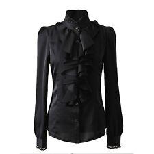 Womens Lace Top Ruffle Long Sleeve shirt Shiny Ladies Satin Black blouse Size 4