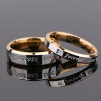 Titanium Steel Forever Love Ring Men Women Promise Couple Wedding Band Rings USA
