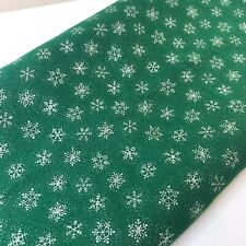 "Craft Felt Remnant | Green Silver Snowflakes | Acrylic | 64""x70"" (1 3/4 yards)"