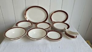 Chintzy Red Gold and White Genuine Vintage Dinner Service Washington Pottery