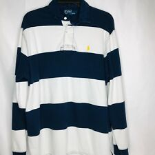 Polo Ralph Lauren Rugby Shirt LS Blue White Striped Size Large Yellow Pony R20