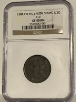 1804 C9 Draped Bust Half Cent Cross 4 Stems LDS Cud Furnace Run 1C