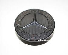 FITS Mercedes Benz Bonnet Flat Badge Black Matte Wreath Emblem 57mm A B C E S C