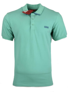 Hugo Boss Men's Aqua Green w/Blue Polo Shirt Dyler Reverse Logo Cotton