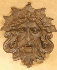 Green Man plaque ~ cast iron ~ rust finish ~ Celtic Leaf god garden face plaque