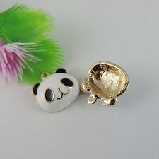 39093 10Pcs Antique Golden Enamel Panda Charms Pendant Finding 17*17*5mm