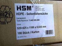 HSM 100 ABFALLSÄCKE 525x425mm NEU EAN 4026631001083 HDPE SEITENFALTENSÄCKE P36