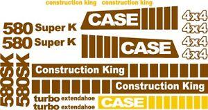Case 580SK Super K  4x4 Loader Backhoe construction king decals sticker set