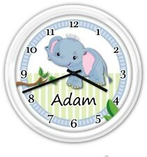 SILENT Baby Nursery Wall Clock PERSONALIZED Elephant Boy Jungle GREAT GIFT