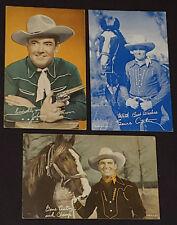 1950's WESTERN MOVIE STARS ARCADE EXHIBIT CARDS (3) - GENE AUTRY, JOHNNY M.BROWN