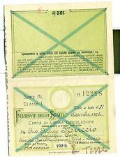 TESSERA - Carta di Circolazione FERROVIE DELLO STATO 1924