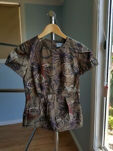 Veronika Main cap sleeves top peplum style size 6 very good condition