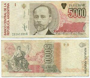 ARGENTINA NOTE 5000 AUSTRALES (1989) PAMPILLO-VAZQUE B# 2866 SUFFIX B P 330c VF