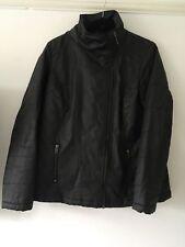 Dorothy Perkins Black Faux Wax Coat - Size 14