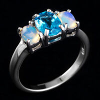 100% NATURAL ETHIOPIAN WELO OPAL 8X6MM SWISS BLUE TOPAZ SILVER 925 RING SIZE 8