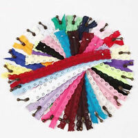 10Pcs 20cm Lace Closed End Zippers Nylon For Purse Bags Multicolor DIY Sewing