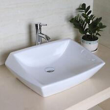 """24""""x16"""" Bathroom Ceramic Vessel Sink Bowl Chrome Faucet&Pop-Up Drain Combo Set"""