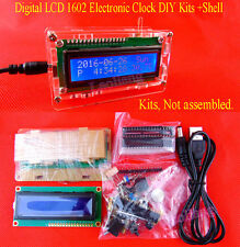 Digital LCD 1602 Electronic Clock DIY Kits Date Time Thermometer Alarm w Shell