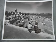 Vintage B&W Victoria BC Newspaper Photo Willows Beach Waterfront People Oak Bay