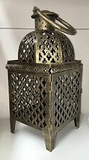 Moroccan Candle Lantern Antique Gold Metal Ornate Cut out