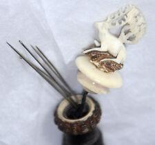 NEEDLE CASE hand carved BAVARIAN HORN w/ Antelope Finial; ANTIQUE Original c1860