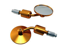 GOLD Pair Bar End Mirrors for Yamaha Streetfighter & Cafe Racer Project Bike