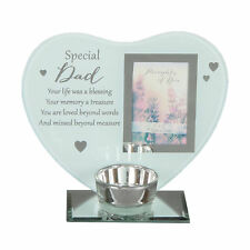 """Thoughts of You"" Glass Photo Frame Memorial Tea Light Candle Holder - Dad"