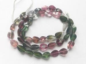 100ct Gem GradeMuliti color Hand polished Faceted Afghan Tourmaline Beads string