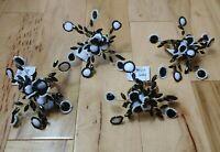 Pier 1 Lot of 4 Black & White Beaded Farmhouse Spray Napkin Gold Rings New