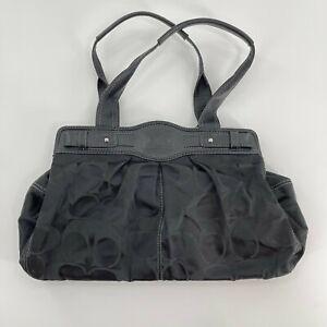 Coach Classic Soho Black Monogram Silver Plated Turnlock Tote Shoulder Bag Purse