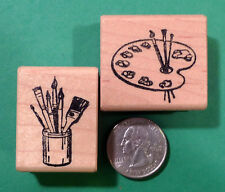 Artist's Palette and Brushes, Wood Mounted Rubber Stamp Set of (2)